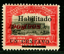 "PARAGUAY  1908 Governmental Palace -HABILITADO- Sc#172  ""1908"" DOUBLE"