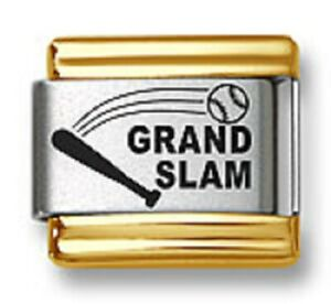 Italian Charm Bracelet Link Laser Grand Slam Baseball Gold Trim Stainless Steel