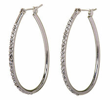 "Swarovski Elements Crystal 1 1/2"" Summerset Hoop Pierced Earrings Rhodium 7231z"