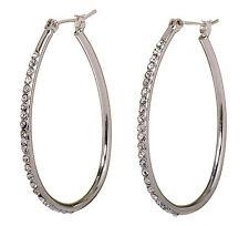 """Swarovski Elements Crystal 1 1/2"""" Summerset Hoop Pierced Earrings Rhodium 7231z"""