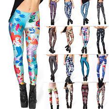 donna aderente vita alta Leggings 3D STAMPA Pantaloni sport YOGA PALESTRA