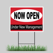 18x24 Now Open New Management Advertise Business Yard Sign Outdoor Coroplast