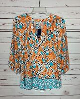 Crown & Ivy Women's S Small Orange Blue Floral Cute Spring Top Blouse NEW TAGS