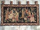 Medieval Wine Making Scene Woven Jacquard Wall Tapestry 40x22 La Vin Et La Vigne
