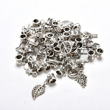 Lots 40pcs Tibetan Silver Delicate Dangle Beads Fit European Charm Bracelet MW