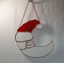 Santa Stained Glass Half Moon Window Wall Hanging Suncatcher 8-inch Red & White