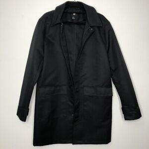 H&M Mens Casual Black Long Coat Size M - Medium