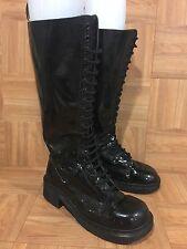 VTG🔥 Dr. Martens Platform Combat Boots 20 Eye Black Patent 9730 UK 8 L 10 M 8.5