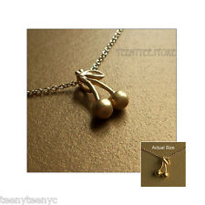 """Dogeared Gold Dipped Cherry Charm 14K Gold Filled 16"""" Chain Necklace with Pouch"""