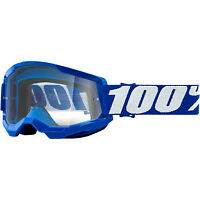 NEW 100% ADULT Strata 2 MOTORCYCLE Goggles  BLUE/CLEAR LENS MX ATV BMX