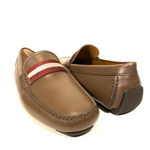 BALLY Mens Waltec Logo Calf Leather Drivers Loafers T Moro Brown (MSRP $550)