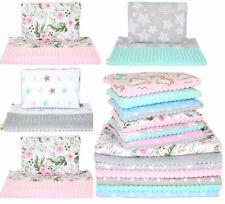 Minky Kwadrat Baby Kinderwagenset  Kuscheldecke Kinder Decke Kissen