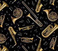 Live Jazz Wind Instruments Elizabeth's Studio 100% cotton fabric by the yard