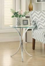 Stylish snack table with clear tempered glass and curved chromed metal base