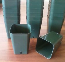 "30 seed Starting - 2 1/4"" Square X 3 1/4"" Extra Deep Green Plastic Rose Pots"