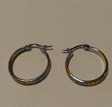 Stainless Steel 2 Tone GOLD/SILVER 25mm Hoop Earrings (Almost 1 inch)