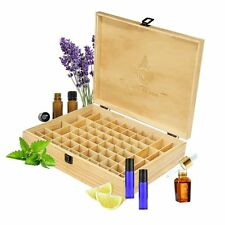 68 Oils Essential Oil Wooden Box Organizer - Large Wood Storage Case Protects