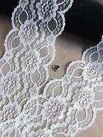 VINTAGE Ivory LACE RIBBON TRIM 60/70mm WIDE BRIDAL CRAFTS wave edge wedding