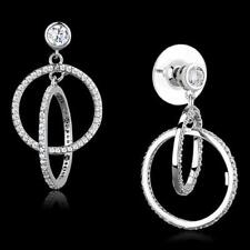 S294 DANGLE DROP STERLING SILVER PAVE  EARRINGS SIMULATED DIAMONDS CIRCLES