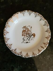"""Antique Porcelain Cowboy & Horse Butter Pat Plate Dish 3 3/8"""" Scalloped Gold"""