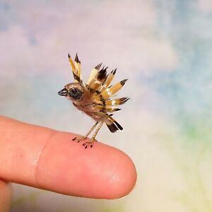 Dollhouse Miniature OOAK Realistic Sparrow bird - Malinik Miniatures