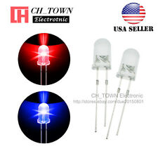 100pcs 5mm Water Clear Bi-color Red Blue Light Blingking Flash LED Diodes USA