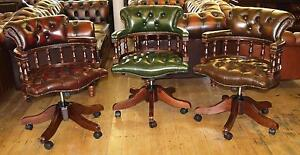 LEATHER CHESTERFIELD ENGLISH CLASSIC CAPTAINS CHAIR BRAND NEW