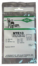 """NTE13 Silicon NPN Transistor: Low Voltage Output Amp: """"M"""" Type Package: New"""