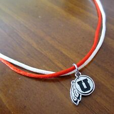 University of Utah UTES SILVER BLACK LOGO PENDANT RED & WHITE NECKLACE jewelry
