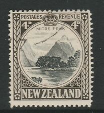 New Zealand 1936-42 4d Black and sepia Perf 14 Line SG 583c Fine used.
