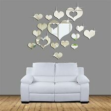 16Pcs Removable 3D Wall Stickers Living Room Decor Wall Stickers Heart Art DIY