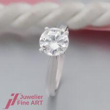 SOLITÄR-RING mit 1 Brillant(Diamant) 1,24ct Feines Weiß F+/si1 mit Expertise