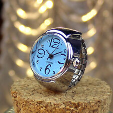 FASHION ROUND DIAL STYLISH QUARTZ ANALOGUE ELASTIC FINGER RING WATCH * BLUE