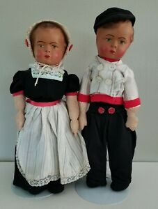 Paper Mache and Stockinette Cloth German Dolls Vintage Pair Boy Girl