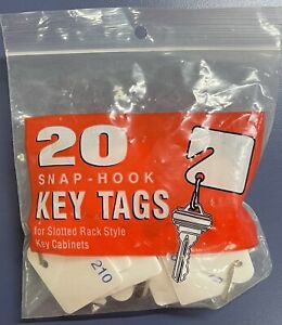 MMF SNAP HOOK WHITE KEY TAGS SLOTTED RACK STYLE # 201 Thru # 220 PLASTIC