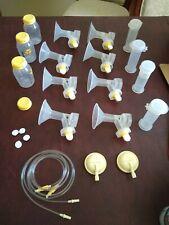 Huge lot Medela Breast Pump Accessories Flanges, Snappies, Membranes, Bottles +