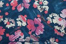 100 % Cotton fabric ~ Batik ~ Blue with pink, mauve, white ~ BTY