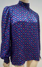 DONALD CAMPBELL CHATELAINE Blue & Multi-Colour Geometric Blouse Shirt Top UK12
