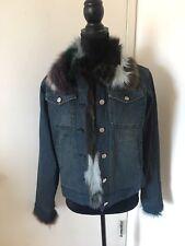 DAMSELLE New York Fur Denim Quilted Jacket Sz S