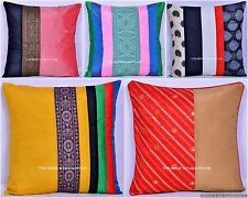 Patchwork Silk Cushion Cover Ethnic Indian Pillow Case Sofa Decor Zipper Closure