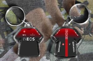 TEAM SKY INEOS t-shirt/jersey keyring cycling, Tour de France PERSONALISED TDF
