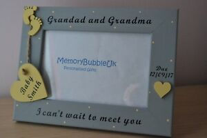 Personalised wooden handmade photo frame - SCAN PHOTO - GRANDMA AND GRANDAD