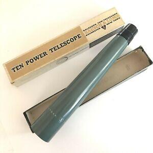 Bausch & Lomb Vintage 10x Balscope Ten Power Telescope Green Scope Original Box