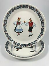 "Vtg FIGGJO FLINT ""HARDANGER DANCERS"" 2 BREAD & BUTTER PLATES Blue, Red - NORWAY"