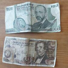Lot de 2 billets SCHILLING   Autriche HUNDERT SCHILLING zwanzig
