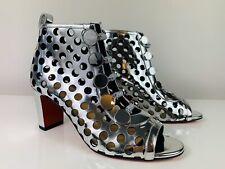 Christian Louboutin Planeta 70 Metallic Silver Peep-Toe Ankle Boots 38