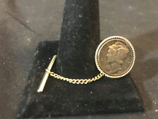 """Old Vtg Tie Pin Clasp Tack  1941 Silver Mercury Dime 1.5"""" Long"""
