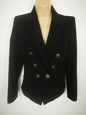 WOMENS MANGO SUIT BLACK SLIM BUTTON UP TAILORED WORK JACKET BLAZER SIZE UK XS