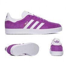 New Mens Adidas Originals Gazelle Trainers Shoes Shock Purple White suede UK 10