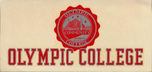 Olympic College RARE ORIGINAL 50's Decal vtg Bremerton Washington Rangers banner